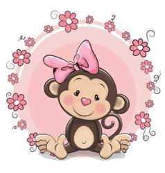 Greeting card cute monkey girl vector
