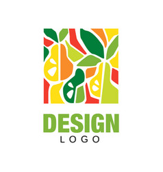 Abstract logo design template with fruits in flat vector