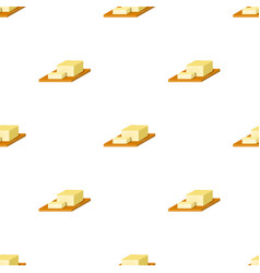 bar of butter on cutting board icon in cartoon vector image