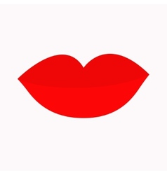 Big full thick red lips on white background vector image