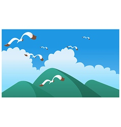 Birds flying over green mountain vector image vector image