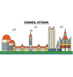 Canada ottawa city skyline architecture vector