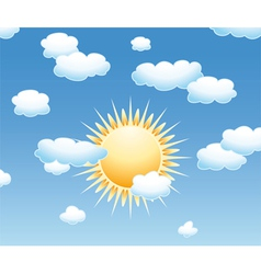 clouds and sun in the sky vector image vector image