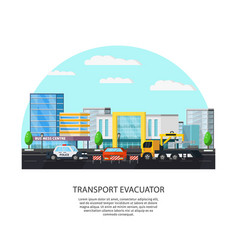 colorful transport evacuator concept vector image vector image