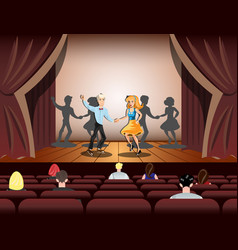 Couple dancing on theatre stage vector
