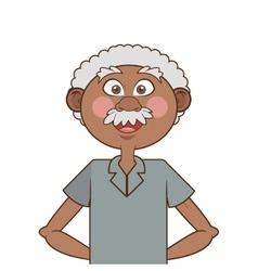 Dark skin senior man icon vector