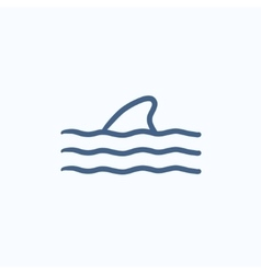 Dorsal shark fin above water sketch icon vector image