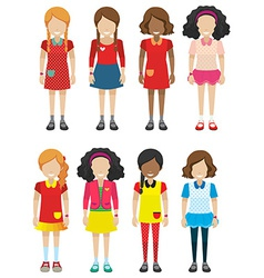 Faceless female kids vector