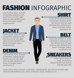 fashion infographic with businessman vector image vector image