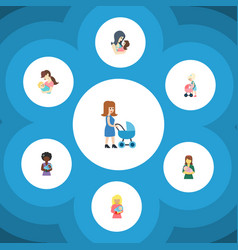 Flat icon parent set of mother mam child and vector