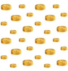 Golden isometric coins with percent on white vector image vector image