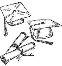 Graduation cap doodle vector