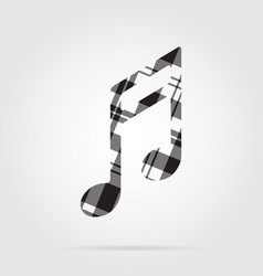 Grayscale tartan isolated icon - musical note vector