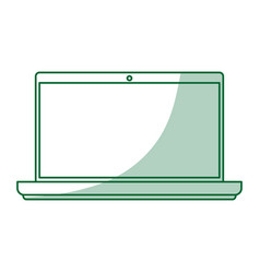 Green silhouette shading laptop computer tech vector