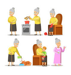 Happy grandmother with grandson cartoon vector