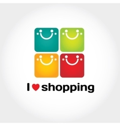 I love shopping sign with typography four vector image