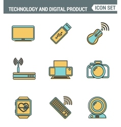 Icons line set premium quality of computer vector image vector image