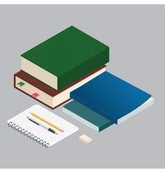 Isometric Books on the background of the school vector image vector image