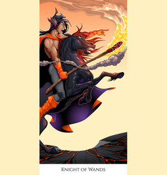 knight of wands tarot card vector image