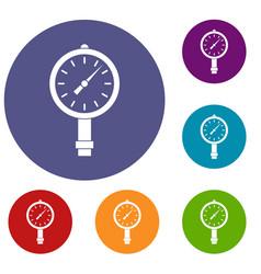 Manometer or pressure gauge icons set vector