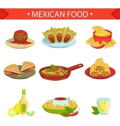 Mexican Food Famous Dishes Set vector image vector image