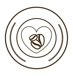 Monochrome round contour with heart with coffee vector