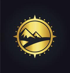 mountain adventure compass gold logo vector image vector image