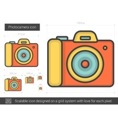 Photocamera line icon vector