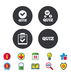 Quiz icons checklist with check mark symbol vector