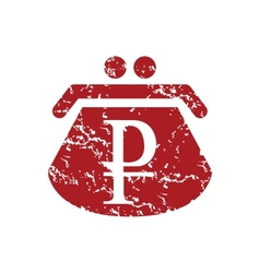 Red grunge rouble purse logo vector