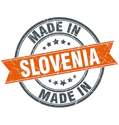 Slovenia orange grunge ribbon stamp on white vector