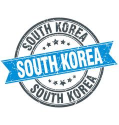 south korea blue round grunge vintage ribbon stamp vector image vector image
