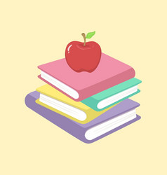Stack of books and apple school supplies il vector