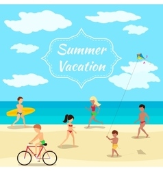 Summer vacation background people on beach party vector