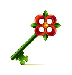 Vintage flower key isolated on white vector image