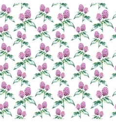 Watercolor clover herb seamless pattern vector
