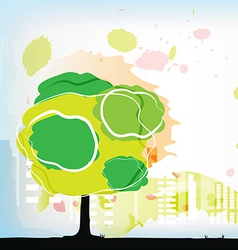 watercolor tree with city behind vector image