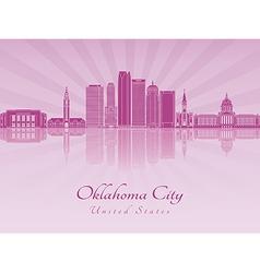 Oklahoma City V2 skyline in purple radiant orchid vector image