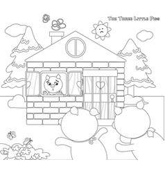 Coloring three little pigs 9 scared piglets vector