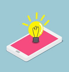 Abstract light bulb on smartphone vector