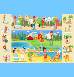 Traveling people infographic concept vector