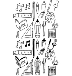Hand drawn back to school dooldes  icons set vector image