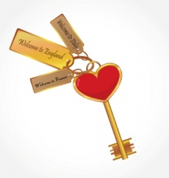 Gold key with tags vector