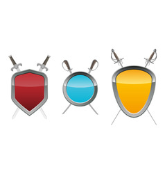Shields with swords vector
