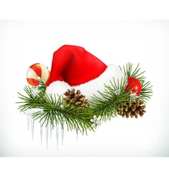Santa Claus hat Christmas tree and cones vector image