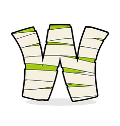 Letter w mummy typography icon in bandages vector