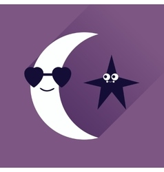 Flat web icon with long shadow moon star vector