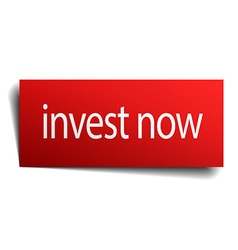 Invest now red square isolated paper sign on white vector