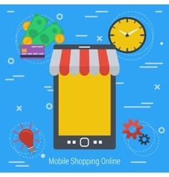 Concept mobile online market vector