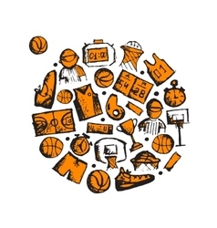 Basketball icons set sketch for your design vector image vector image